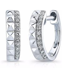 Anne Sisteron White Gold Spike & Diamond Huggie Earrings