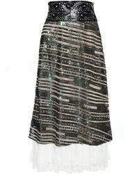 Jiri Kalfar - Gold & Green Sequin Skirt With Silk Lace - Lyst