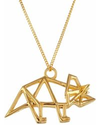 Origami Jewellery - Sterling Silver & Gold Frame Triceratop Origami Necklace - Lyst