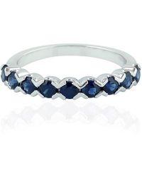 Artisan 18k White Gold Blue Sapphire Half Eternity Band Ring