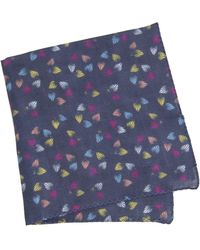 40 Colori - Navy Birch Printed Linen Pocket Square - Lyst