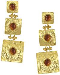 Ottoman Hands - Pandora Brown Agate Hammered Drop Earrings - Lyst