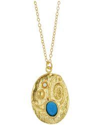 Ottoman Hands - Adela Turquoise & Pearl Bead Circle Pendant - Lyst