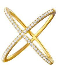 Cosanuova - Sterling Silver X Crisscross Cz Ring In Gold - Lyst