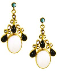 Ottoman Hands - Mother Of Pearl And Onyx Ornate Festival Drop Earrings - Lyst