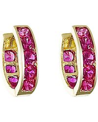 Talia Naomi - Hot Pink Pave Eternity Hoops - Lyst