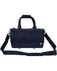 MAHI - Mini Duffle Handbag In Navy Leather - Lyst