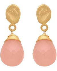 Carousel Jewels - Textured Gold Nugget & Rose Quartz Drop Earrings - Lyst