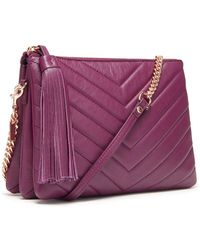 Thacker NYC - Ladybird Chain Clutch In Plum Quilted Chevron - Lyst