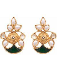 Carousel Jewels - Mother Of Pearl & Green Crystal Earrings - Lyst