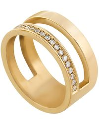 Edge Only - 14ct Gold Diamond Parallel Ring - Lyst