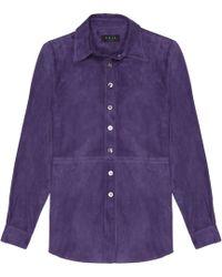 VEIL LONDON - Purple Suede Shirt - Lyst