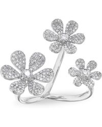 Anne Sisteron - White Gold Diamond Floating Triple Daisy Flower Ring - Lyst