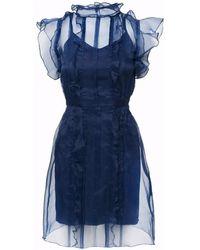 SHOPYTE - Midnight Blue Silk Organza Dress - Lyst