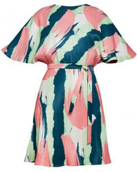 UNDRESS - Virago Printed Butterfly Sleeve Mini Cocktail Dress - Lyst