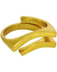 Ottoman Hands - Gold Double Groove Ring - Lyst