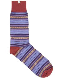 40 Colori - Red Detailed Striped Organic Cotton Socks - Lyst