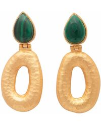 Carousel Jewels - Matte Gold Finish Malachite Earrings - Lyst