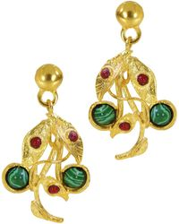 Ottoman Hands - Poison Ivy Malachite & Red Agate Drop Earrings - Lyst