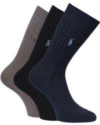 Polo Ralph Lauren - Three Pairs Black Navy & Khaki Ribbed Socks - Lyst