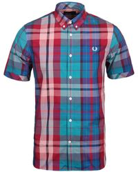 Fred Perry - Bright Madras Red Checked Short Sleeve Shirt - Lyst