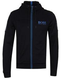 BOSS Green - Sagg Black Zip Hoodie - Lyst