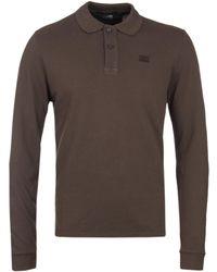 686625607ed0 C P Company - Long Sleeve Olive Pique Polo Shirt - Lyst