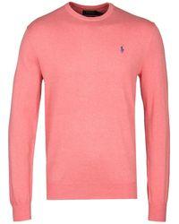 Polo Ralph Lauren - Salmon Pink Pima Cotton Slim Fit Jumper - Lyst