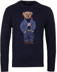 Polo Ralph Lauren - 'denim Bear' Navy Jumper - Lyst
