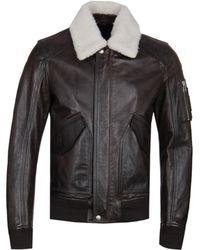 Belstaff - Arne Brown Calf Leather Bomber Jacket - Lyst