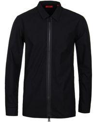 HUGO - Euston Black Zip Overshirt - Lyst