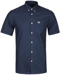 Fred Perry - Dark Airforce Blue Short Sleeve Classic Oxford Shirt - Lyst