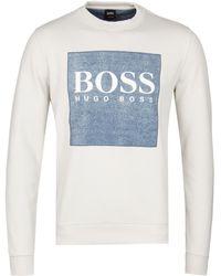 BOSS Orange - Wedford Beige Crew Sweatshirt - Lyst