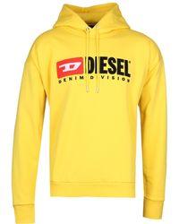 DIESEL - S-division Felpa Yellow Logo Hoodie - Lyst