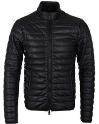Armani Jeans | Black Pleather Rib Quilted Blouson Jacket | Lyst