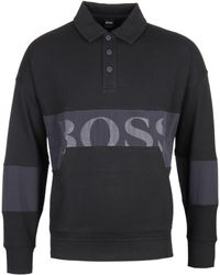BOSS - Wolton Polo Collar Black Sweater - Lyst
