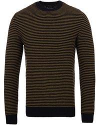 Barbour - Brig Navy Stripe Knitted Woollen Sweater - Lyst