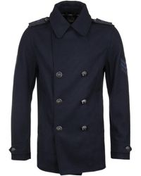 Pretty Green - Navy Double Breasted Military Peacoat - Lyst