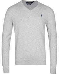 Polo Ralph Lauren Slim Fit V-neck Knitted Grey Pima Sweatshirt