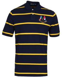 Polo Ralph Lauren - Navy & Yellow Stripe Cross Flags Polo Shirt - Lyst