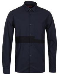HUGO - Elever Black Tape Overshirt - Lyst