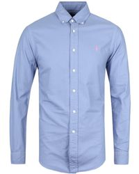 Polo Ralph Lauren - Slim Fit Deep Blue Garment Dyed Oxford Shirt - Lyst