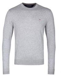 Tommy Hilfiger - Grey Core Cotton-silk Crew Neck Jumper - Lyst