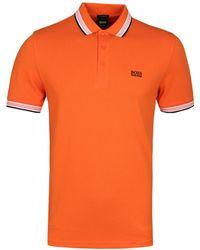 BOSS Athleisure - Paddy Orange Polo Shirt - Lyst