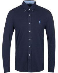 Polo Ralph Lauren - Featherweight Mesh Navy Shirt - Lyst