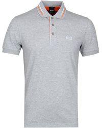 BOSS Green - Paule2 Grey Marl Polo Shirt - Lyst
