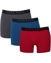 BOSS Black - 3 Pack Colour Block Red, Blue & Grey Stretch Cotton Boxer Briefs - Lyst