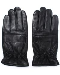 Fred Perry - Perforated Black Leather Gloves - Lyst