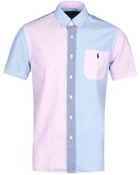 Polo Ralph Lauren - Blue & Pink Seersucker Short Sleeve Shirt - Lyst