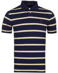 Polo Ralph Lauren - Navy Hoop Slim Fit Mesh Pique Polo Shirt - Lyst